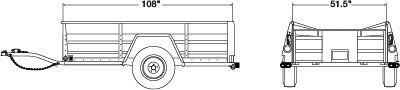 5' x 8' Utility Trailer Dimensions. Perfect for landscaping or home improvement projects. #Trailer