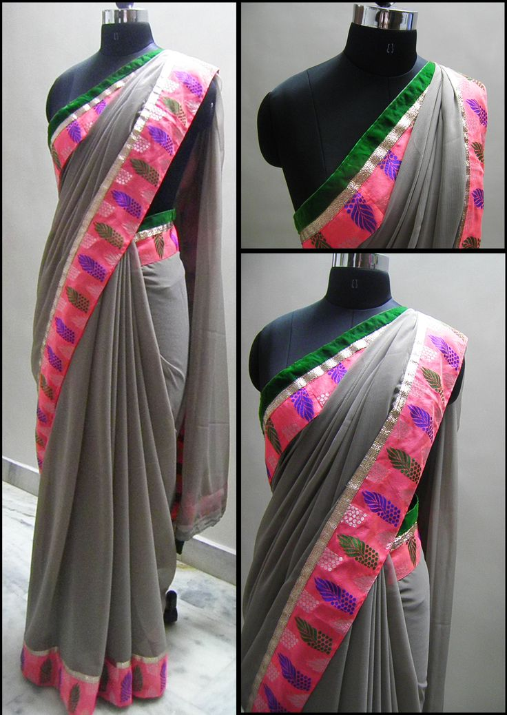 Grey georgette saree with running pink brocade border and Green velvet patti and gold Lace.   Blouse - Pink Silk cotton (0.8mtr)  For booking your saree please Email us with Saree name to sales@aaenadesign.com or call us on +91 9167625956