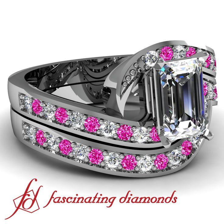 Pink Sapphire and Diamond Swirl set Diamond Wedding Ring set