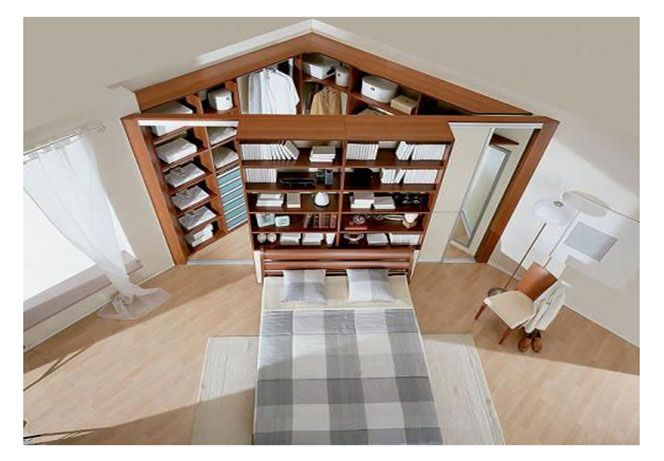 Cabina armadio angolare dietro al letto