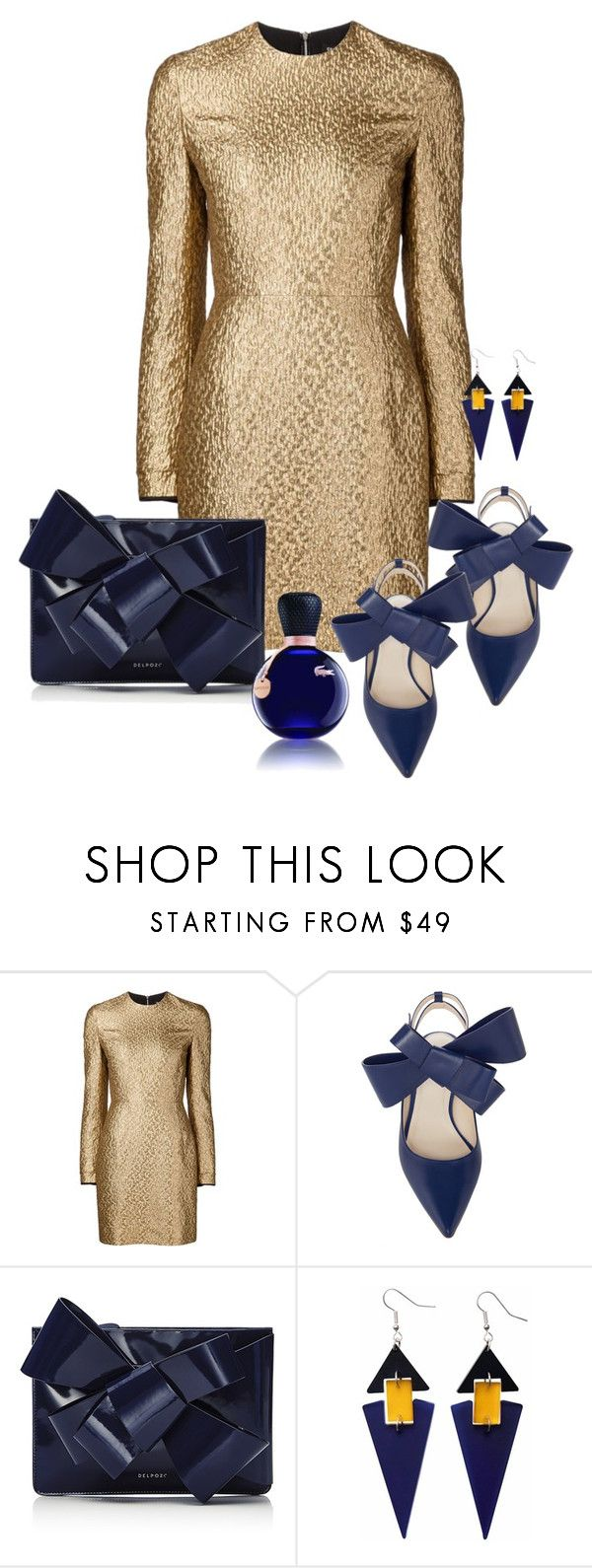 """""""Matching bag and shoes with bow: Delpozo"""" by onelittleme ❤ liked on Polyvore featuring Creatures of the Wind, Delpozo, Toolally, Lacoste, gold, Blue, dress and navy"""