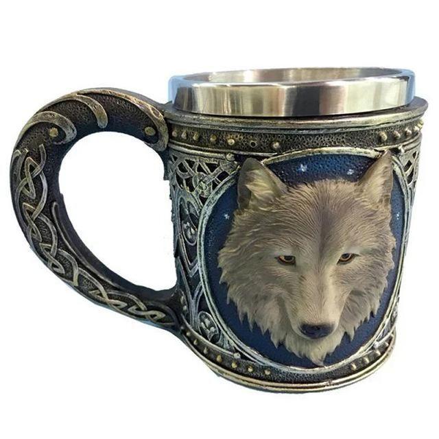 3D Wolf Resin Stainless Steel Mug