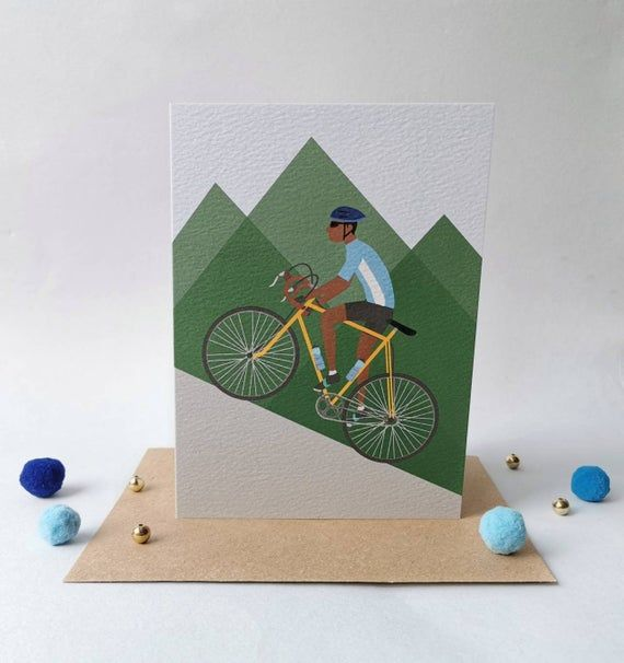 Cycling Birthday Card Cycling Card Bike Birthday Card Etsy Bike Card Happy Birthday Cards Diy Birthday Cards