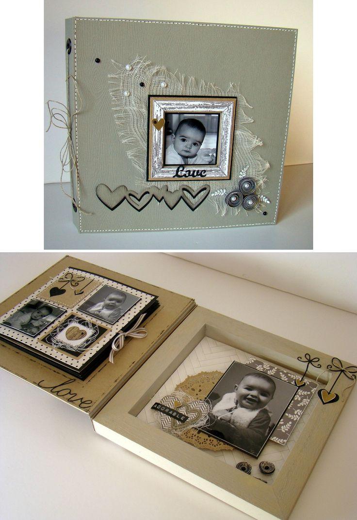Création entre le home-déco et le mini-album faite à partir d'un cadre en bois de 20 x 20 cm. A gauche un mini album de 13 x 13 cm s'insère dans le cadre en bois une fois le projet refermé.