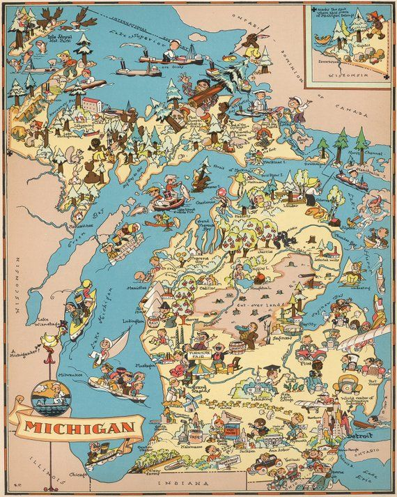 Vintage Michigan Map From 1935 Old