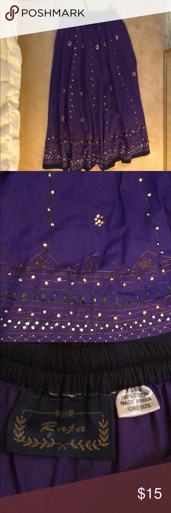 Women's Indian long skirt Beautiful colorful/ Purple Indian long skirt for women with drawstring fits most. Never worn- brand new! The sequin work is handmade by artisans of India. This Indian skirt can be worn with a matching top or tank top and is suitable for all occasions. raja Skirts A-Line or Full
