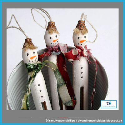 DIY And Household Tips: Christmas Snowmen Clothespin Dolls
