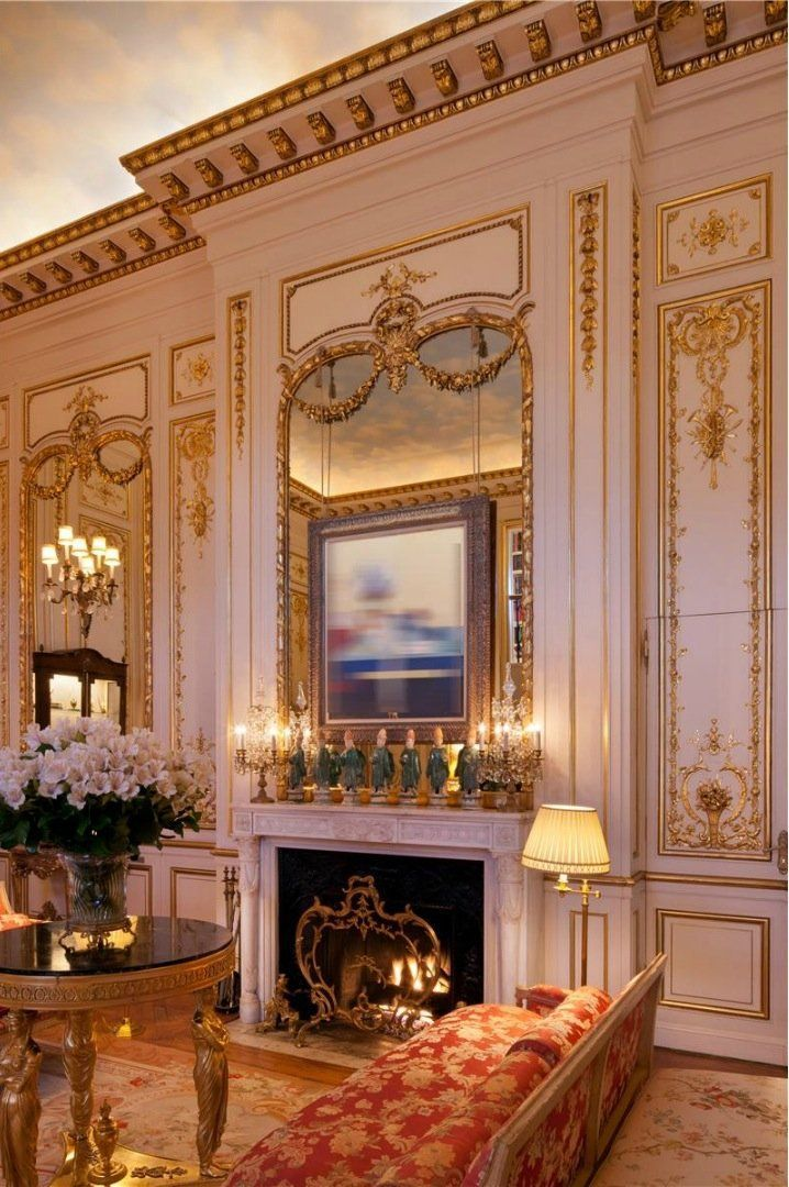 Joan Rivers NYC Penthouse features Colony's Aprile available through Scalamandre on Bench and Louis XV damask on settee