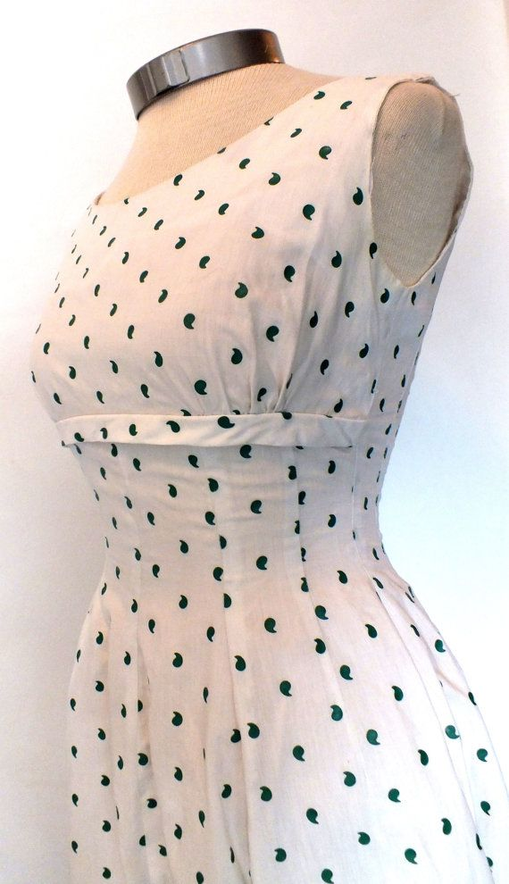 1950s Novelty Print Fit and Flare Day Dress by OrchidRoomVintage
