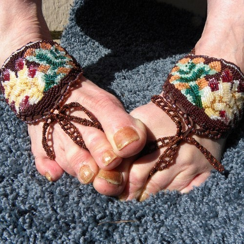 House of Tiwswan is featuring a pair of unique beaded barefoot sandals