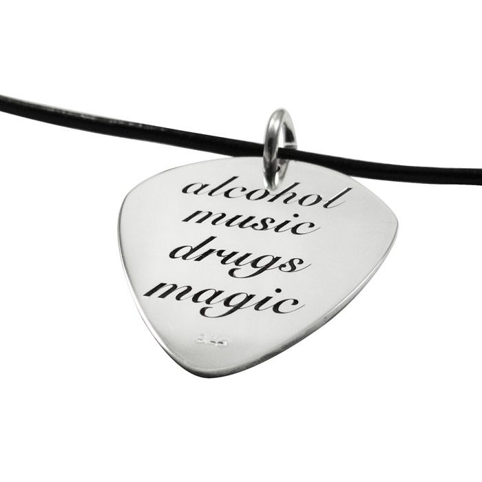 "Pendant with a guitar pick in solid silver 925°, engraved with a guitar on one side and the phrase ""alcohol music drugs magic"" on the other side. By Shine4ever.gr !"