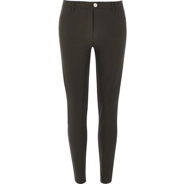 River Island Khaki skinny trousers ($50) ❤ liked on Polyvore featuring pants, khaki, trousers, skinny leg khaki pants, skinny khaki pants, zipper pants, zip pants and skinny fit pants