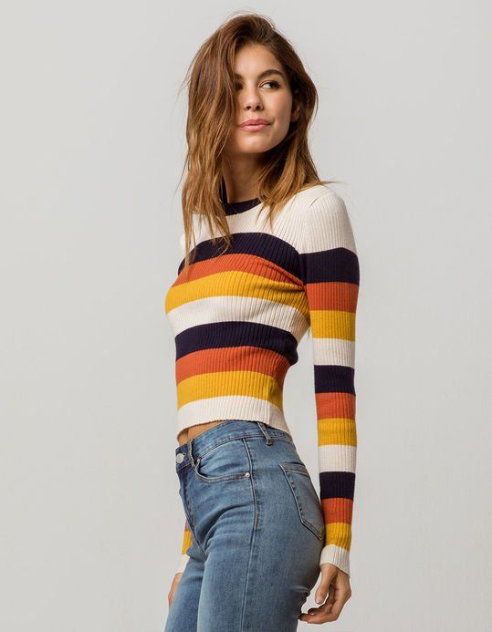 d5f9f7208c ... cute sweaters for winter! SKY AND SPARROW Ribbed Stripe Navy Womens  Sweater