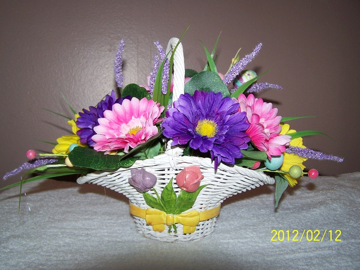 21 best flower baskets images on pinterest flower baskets silk spring floral wicker basket arrangement holiday easter decorations centerpieces 3000 via etsy negle Image collections
