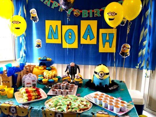 Minion theme party with minion cake