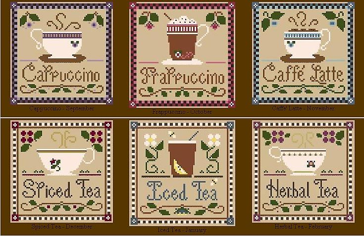 complete set of the Coffee & Tea series.     designed by Diane Williams.