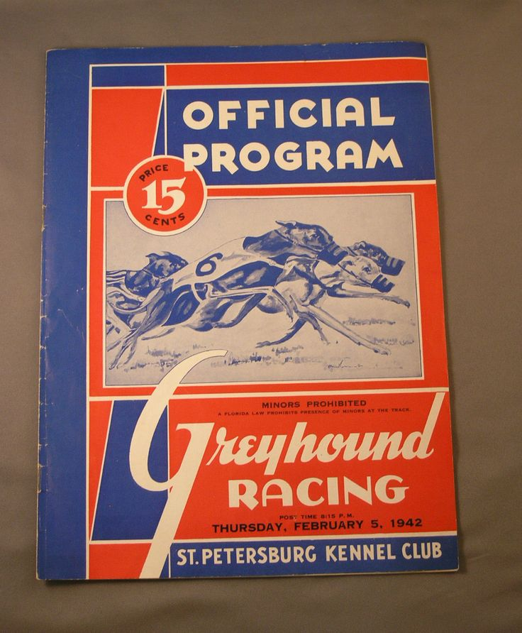 Vintage 1942 Official Program Greyhound Racing St ...
