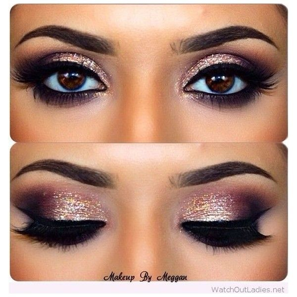 Gold and burgundy eye makeup with black details ❤ liked on Polyvore featuring beauty products, makeup and eye makeup