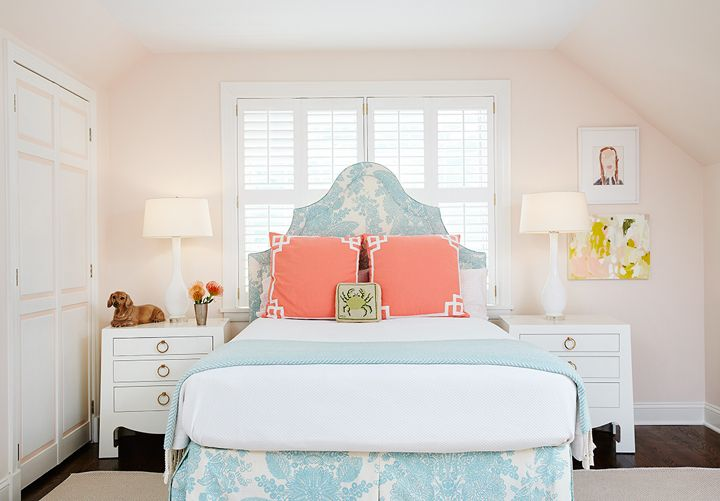 pink and aqua blue bedroom by Amie Corley Interiors