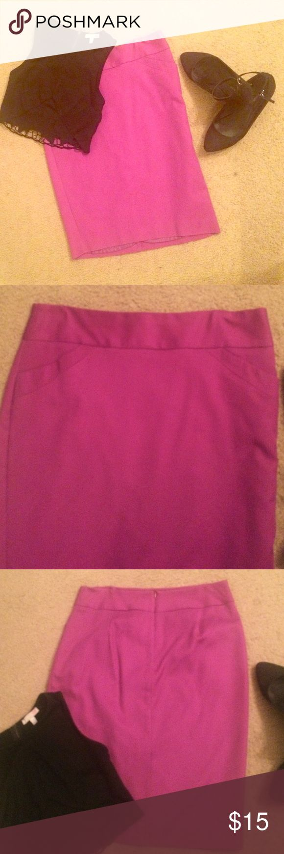 Charter Club Skirt A mix of color purple and pink! Great for the office because it goes down to the knees. Also has slit on back thats sewed at the bottom in case you want to undo it to have the slit open. Classy, sassy, and smart-assy! :) Charter Club Skirts Pencil