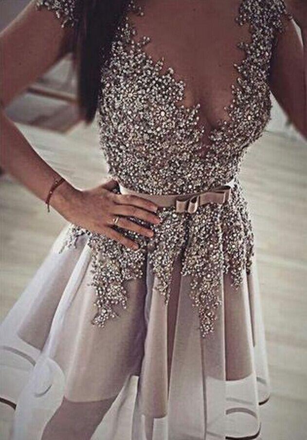 #homecoming dresses #Short Prom Dresses #beaded homecoming dress #short homecoming dresses #2016 Homecoming Dress #Grey beaded homecoming dress