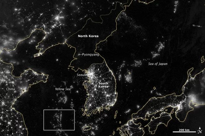 Night time from above- south east asia South Korea D Pinterest - best of world map at night korean