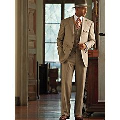 Great Gatsby style mens suit. Light brown, summer weight flannel,, single breasted, peak lapel, matching vest, and pants, fedora hat, necktie, pointed french cuff shirt.