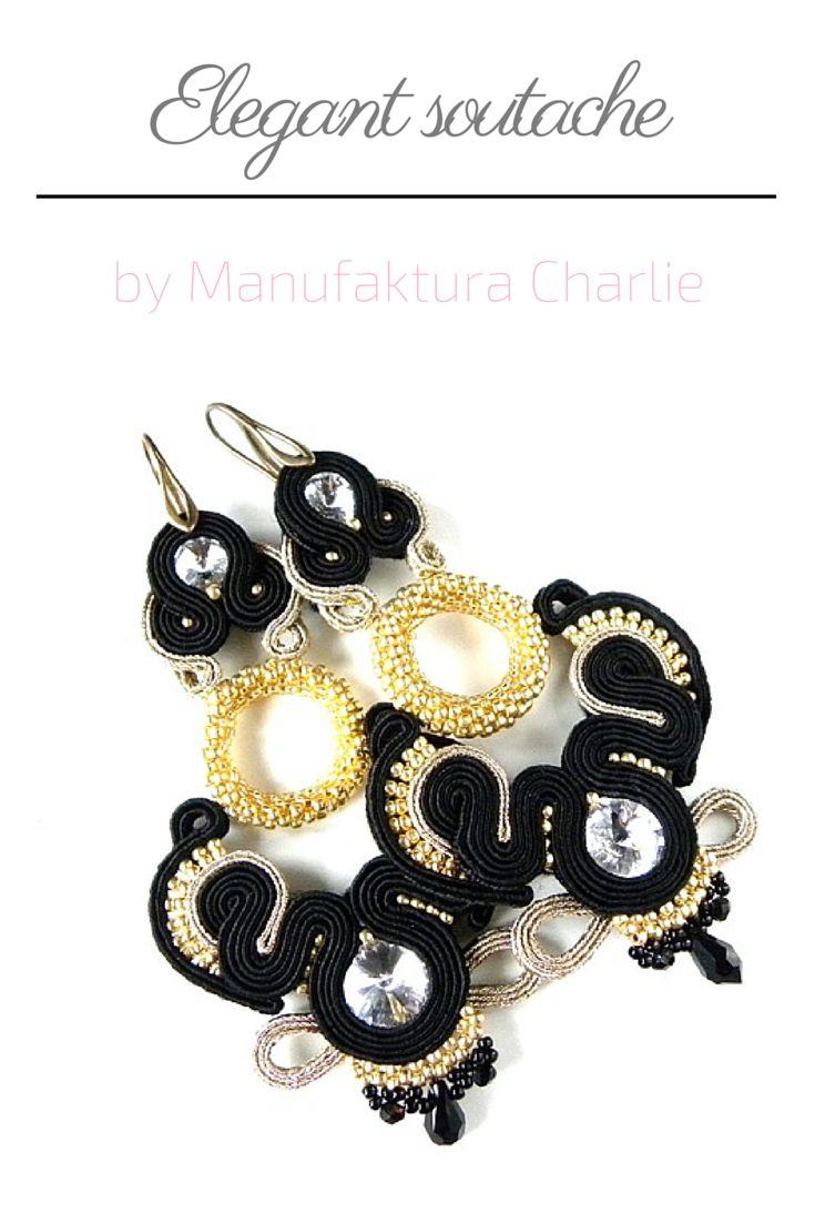 Long soutache earrings, elegant. Made by Manufaktura Charlie