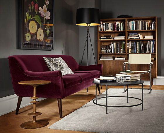 Burgundy color trend with gray.
