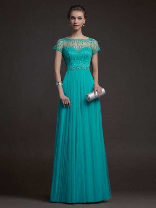 A-line/Princess Bateau Short Sleeves Beading Floor-length Tulle Mother of the Bride Dresses