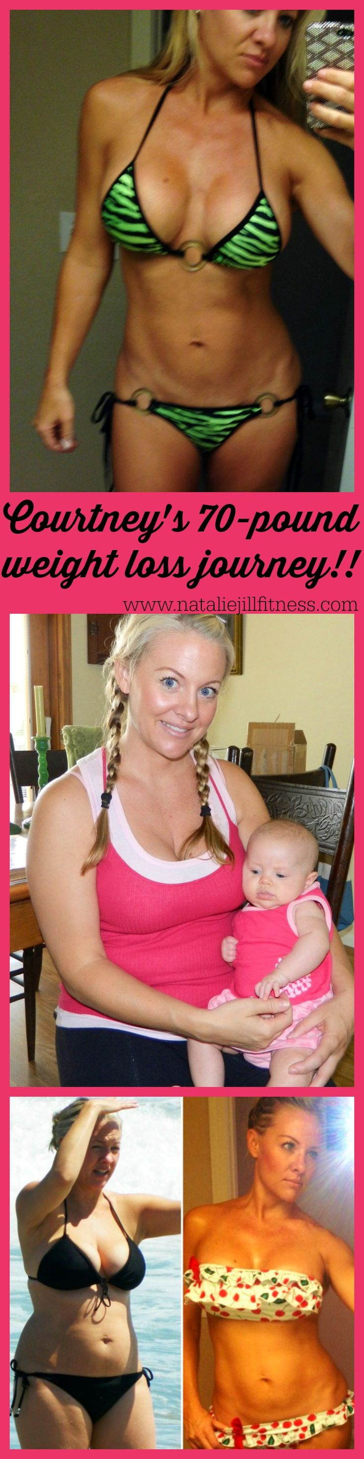 """Moms can be hot!""- Courtney was Determined to Get Fit After Baby — and Lost 70 Pounds! Click to learn HOW 38 year-old Courtney successfully lost the weight and turned her life around! http://nataliejillfitness.com/c-section-to-bikini-ready/"