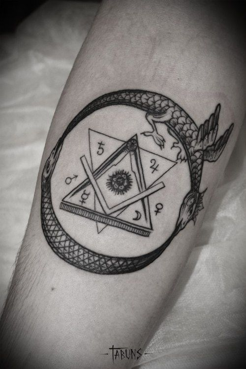 Alex Tabuns - ouroboros, masonic, alchemy tattoo