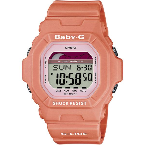 Casio Women's 'Baby-G' Orange Digital Watch (£72) ❤ liked on Polyvore featuring jewelry, watches, sports jewelry, sports watches, sports wrist watch, digital watch and digital sports watch