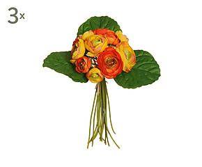 Set di 3 mazzi di ranuncolo artificiale giallo/arancio - H 32 cm