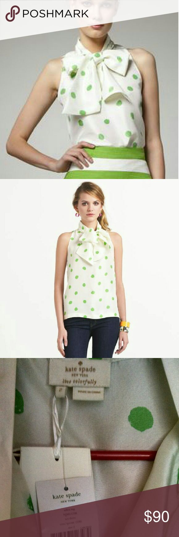 "SALE-RARE Kate Spade Adira Top NWT but there is some irregularities or damage on the fabric (see the 4th pic for example). Personally I don't think it's too noticeable, but it's up to you. The price reflects this ""as is"" condition.  The first two pics are from retailer and for reference only.  Cream/sprout (green) polka-dot?  ? Tie neckline.  ? Sleeveless.  ? Relaxed silhouette.  ? Silk.  ? Imported.  ? Dry clean? kate spade Tops Blouses"