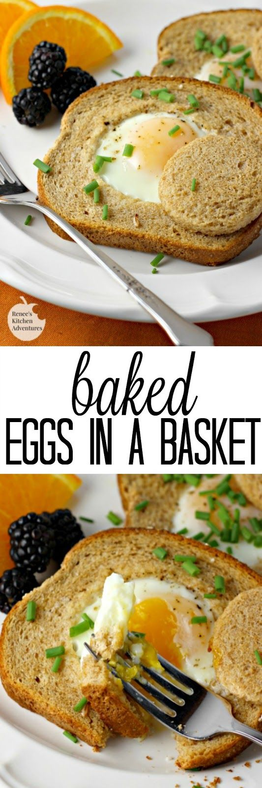 Baked Eggs in a Basket | by Renee's Kitchen Adventures - Easy recipe for baked eggs in a basket aka eggs in hole perfect for breakfast or brunch
