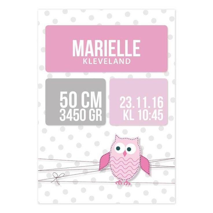 rosa fødselstavle ugle barnerom jenterom personlig plakat fødselsdiplom fødselstavler