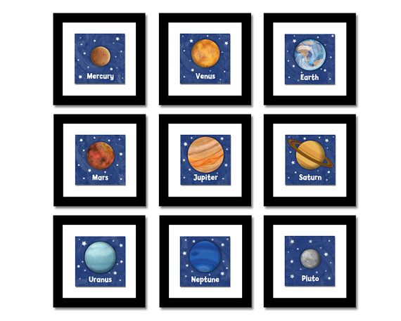 Items Similar To Outer Space Solar System Nine Planet Prints Framed Children S Outer Space Theme Room Decor With Pluto On Etsy