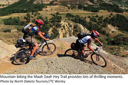 Mountain biking along the Maah Daah Hey Trail in North Dakota
