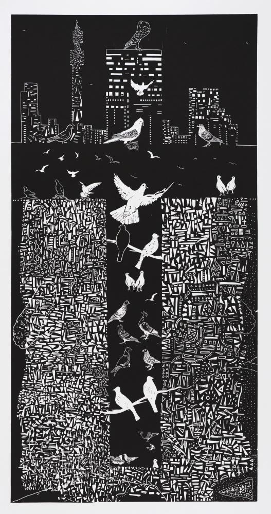 Paul Molete | Cross Pigeons 2010 Linocut 210 x 105cm