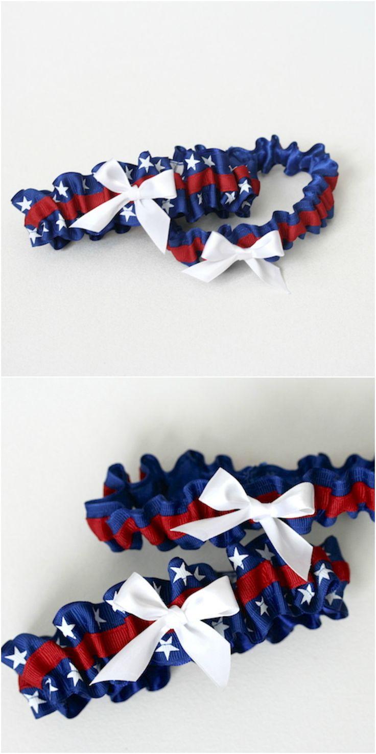 red, white and blue stars wedding garter - hand made wedding garters by The Garter Girl