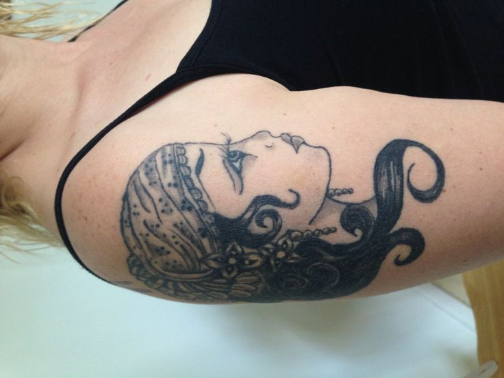 Unknown artist. Tattoo done by Leroy Barela from Discreet Tattoo