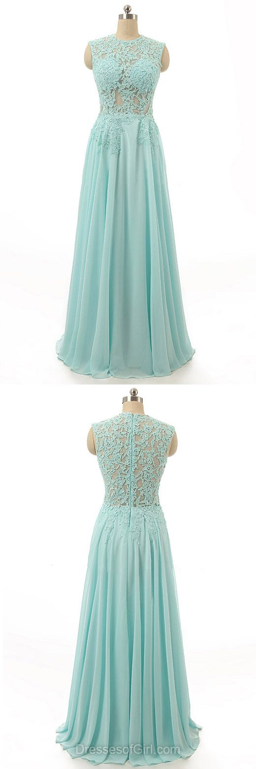 Scoop Neck Chiffon Floor-length with Appliques Lace Elegant Prom Dress