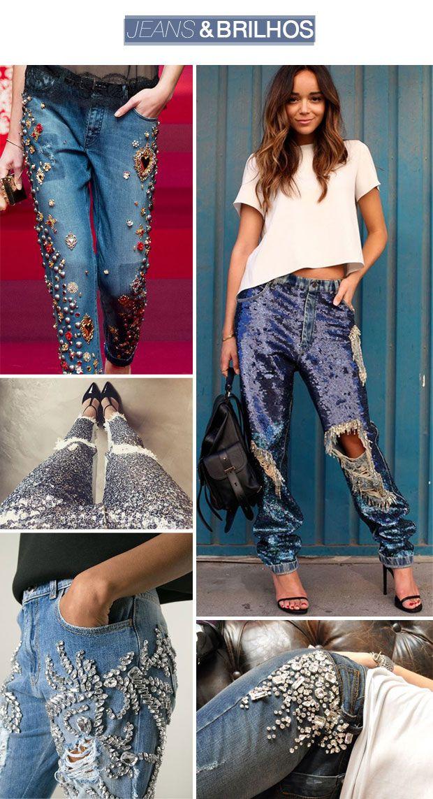 """Ainda na vibe """"os anos 90 estão de volta"""", já tem umas duas temporadas que estou reparando que o jeans tá ficando cada vez mais metido e elaborado. Bordados, com pedrarias, paetês ou canutilhos, pintados ou até mesmo com aqueles patches que você passa o ferro em cima para colar na roupa, as jaquetas, calças e shorts jeans agora são tudo, menos básicos. Meu único pensamento quando vejo essas peças é que quemcomprava na Rosana Bernardes do Fashion Mall e guardou tudo hoje em dia se daria…"""