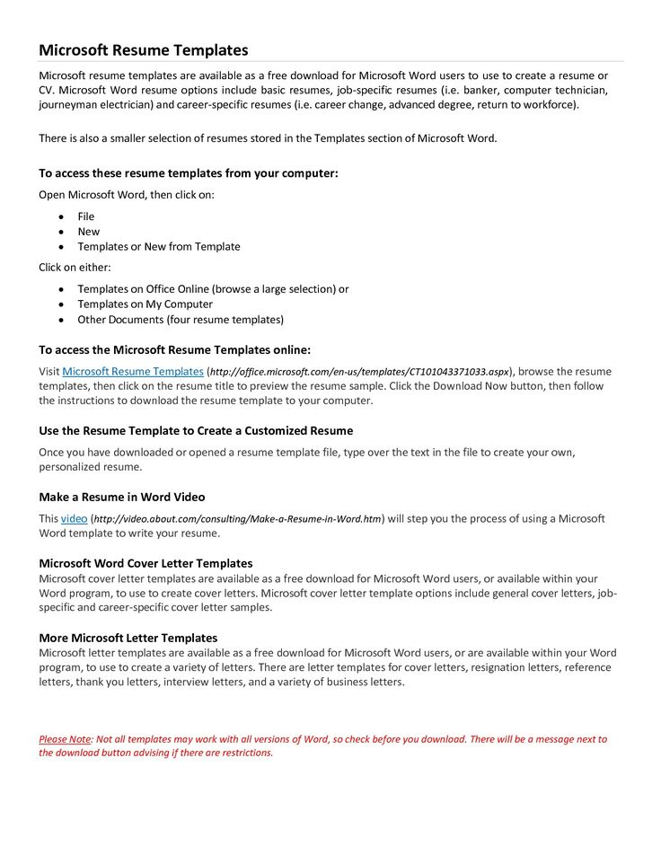 Resume Ms Word Format Download  Microsoft Resume Templates