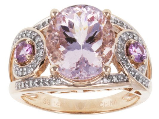 3.84ctw Cor-de-rosa Morganite(Tm) With Pink Sapphire And White Diamond