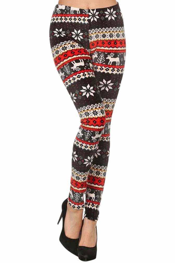 Winter Snowflake & Reindeer Print Plush Velour Leggings
