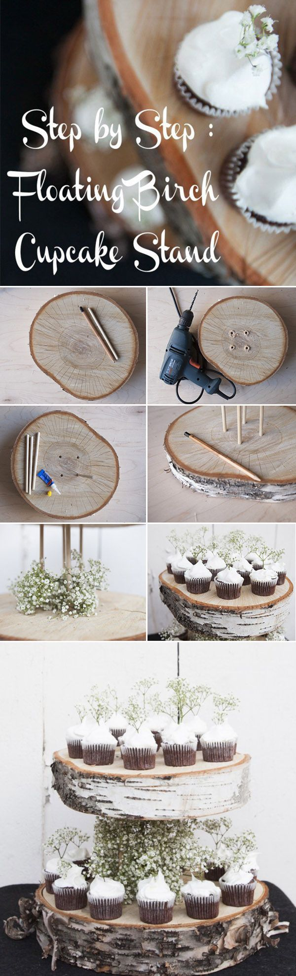 country rustic diy floating birch wedding cupcake stands