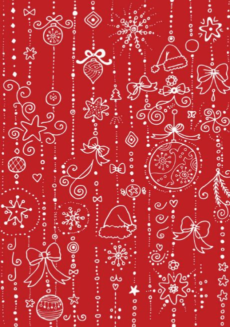 Christmas scrapbook paper - white on red doodle design - Lien PDF au dessus de l'image (MDP ActivityVillage.co.uk)