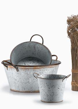 Antiqued  tin bucket. Med $10.00 small bucket 3.99.